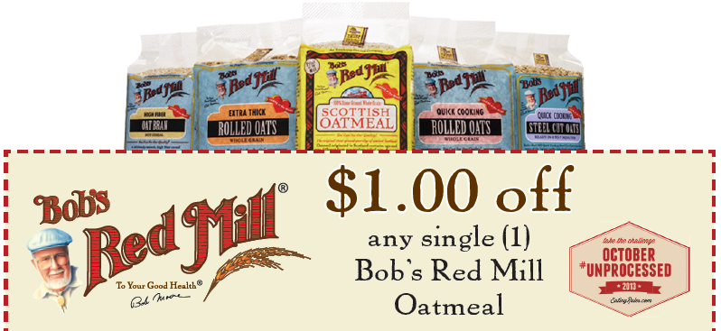 image relating to Bobs Printable Coupons titled $1/1 Bobs Crimson Mill Oatmeal Printable The Insane Coupon